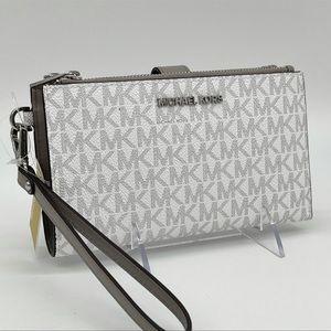 Michael Kors Double Zip Wallet Bright White